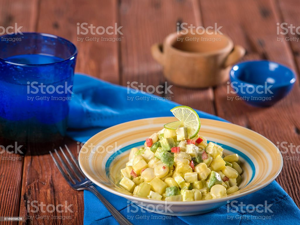 Choclo con Queso, typical dish from Peru stock photo