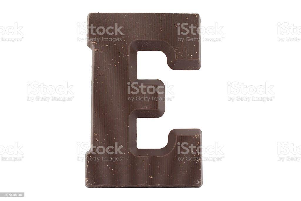 Chocolate alphabet - letter E stock photo