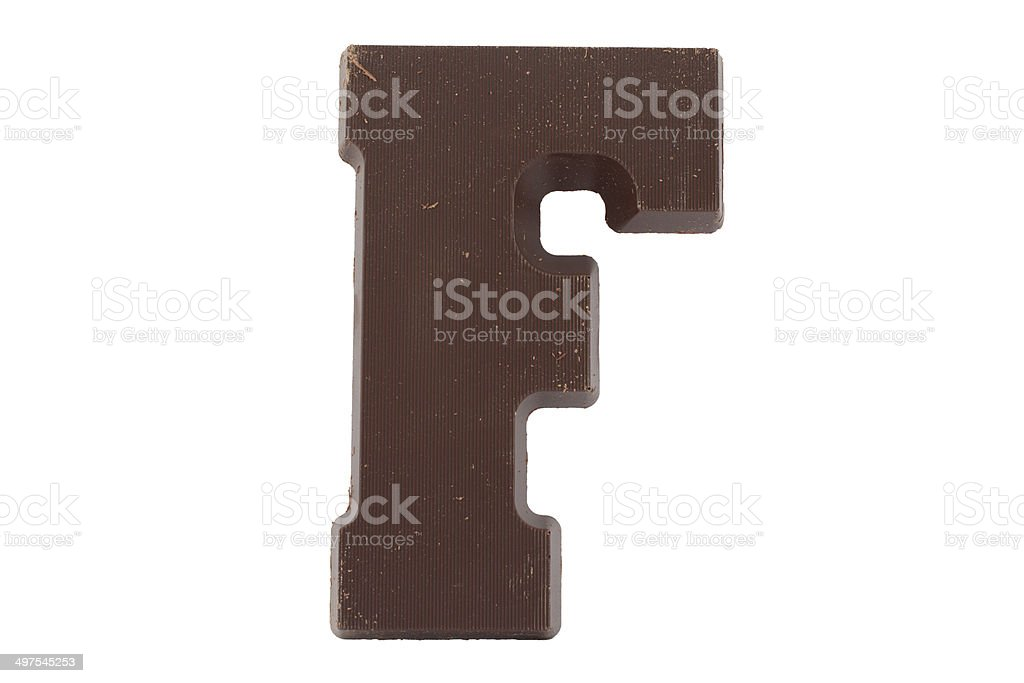 Chocolate alphabet - letter F stock photo