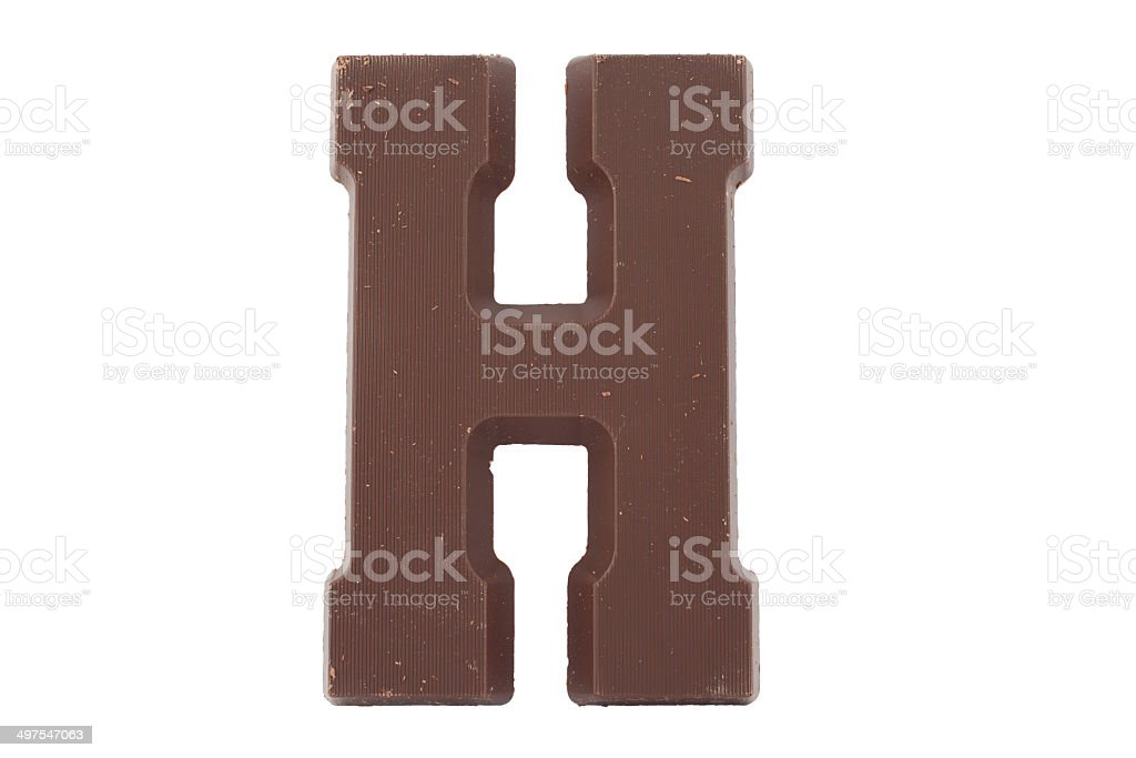 Chocolate alphabet - letter H stock photo