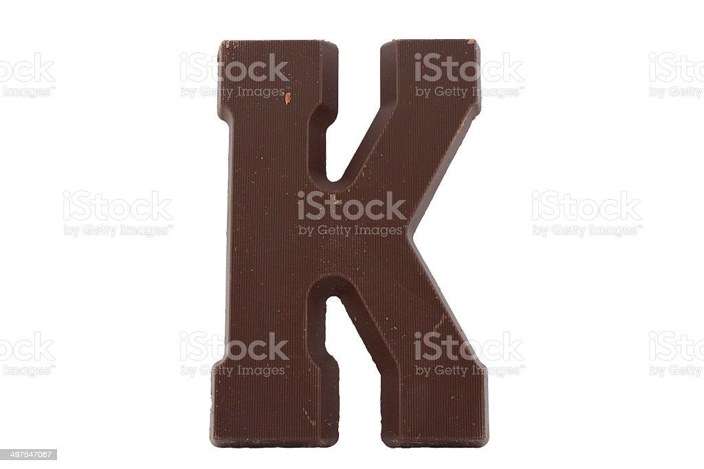Chocolate alphabet - letter K stock photo
