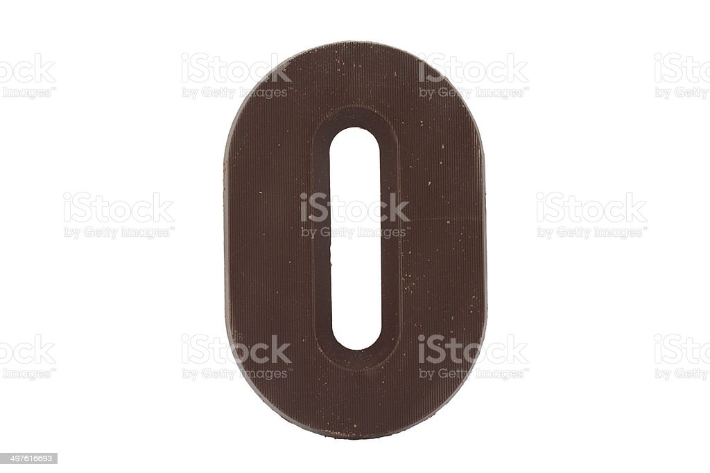 Chocolate alphabet - letter O stock photo