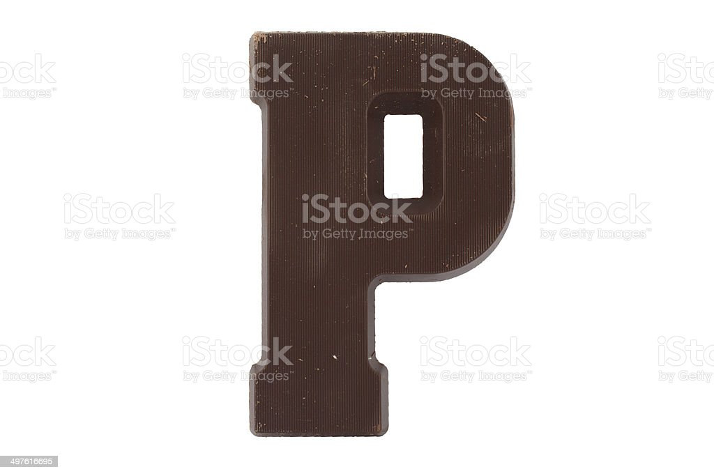 Chocolate alphabet - letter P stock photo