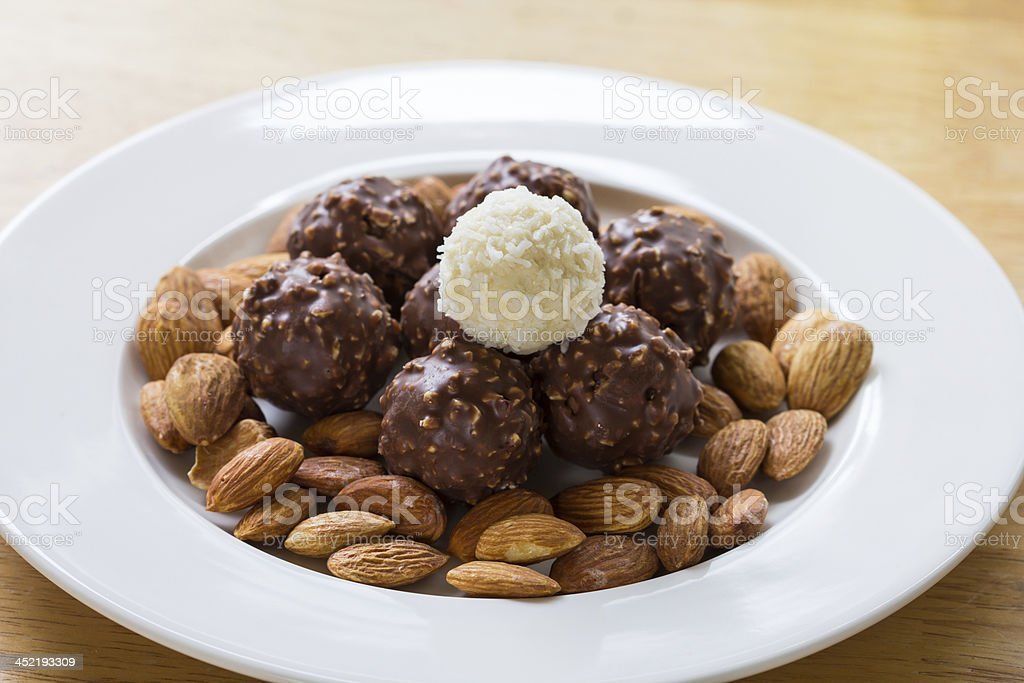 Chocolate and almonds royalty-free stock photo