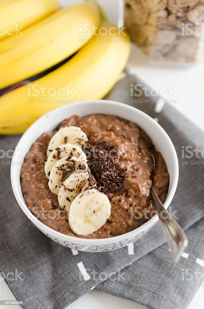 Chocolate and banana porridge stock photo