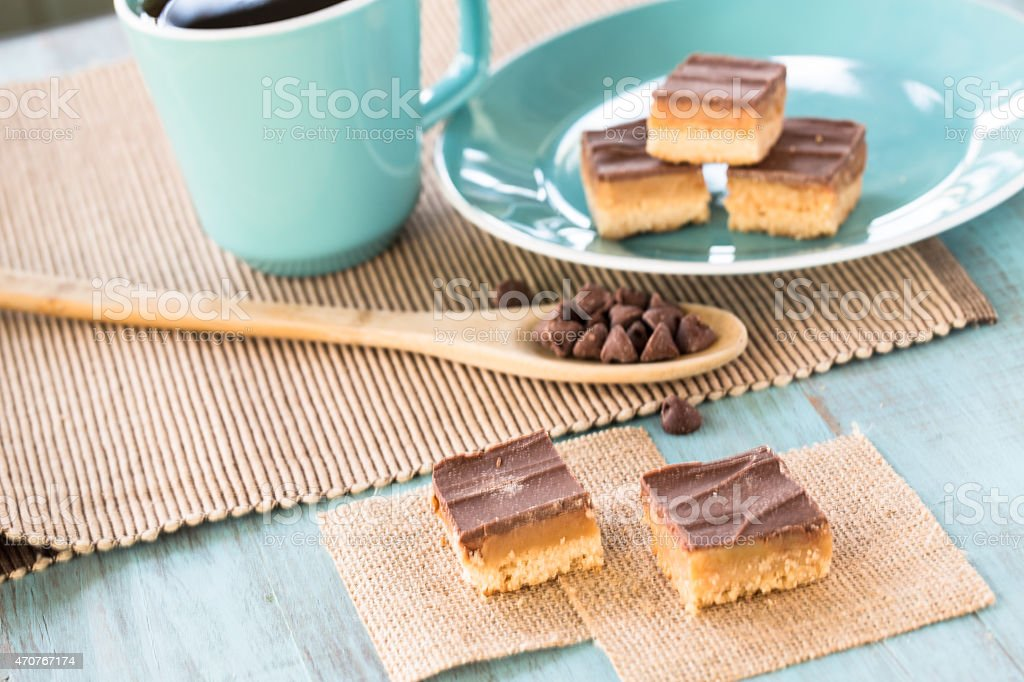 Chocolate and Caramel Millionaire Bars From Above stock photo