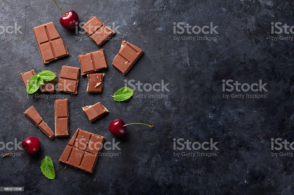 Chocolate and cherry berries stock photo