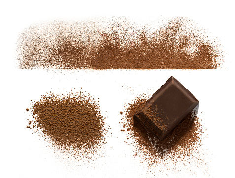 Chocolate and Cocoa powder line and heap and chocolate piece isolated on white background
