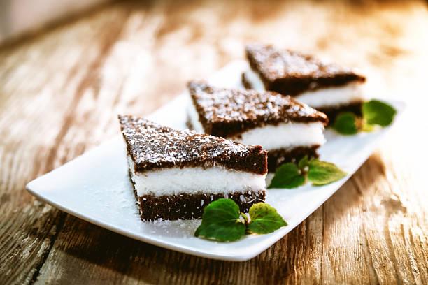 Chocolate and Coconut Cake stock photo