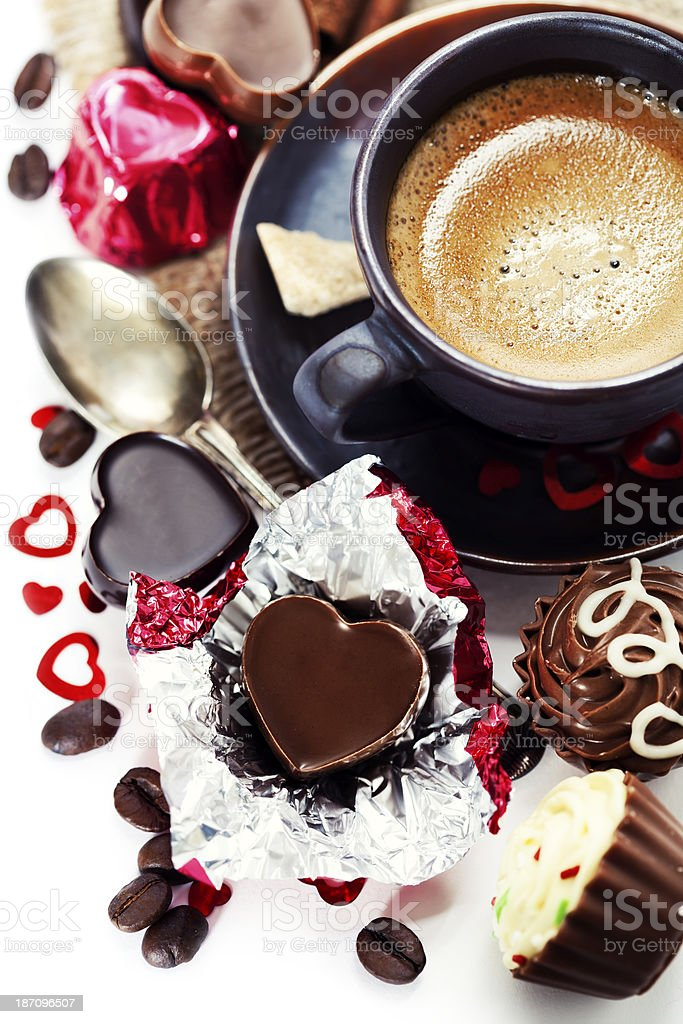 chocolate and coffee for Valentine's Day royalty-free stock photo