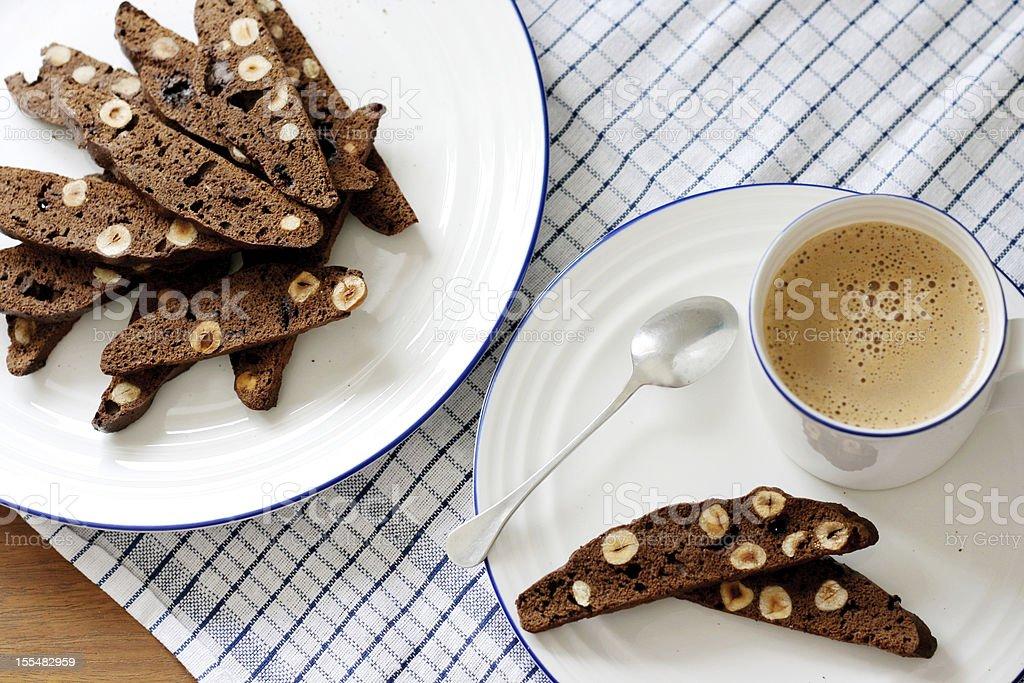 Chocolate and hazelnut biscotti royalty-free stock photo