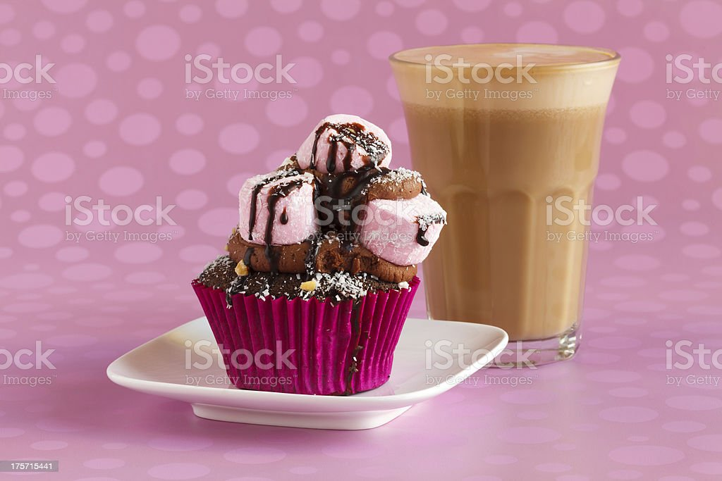 Chocolate and Marshmallow Cupcake with Coffee royalty-free stock photo