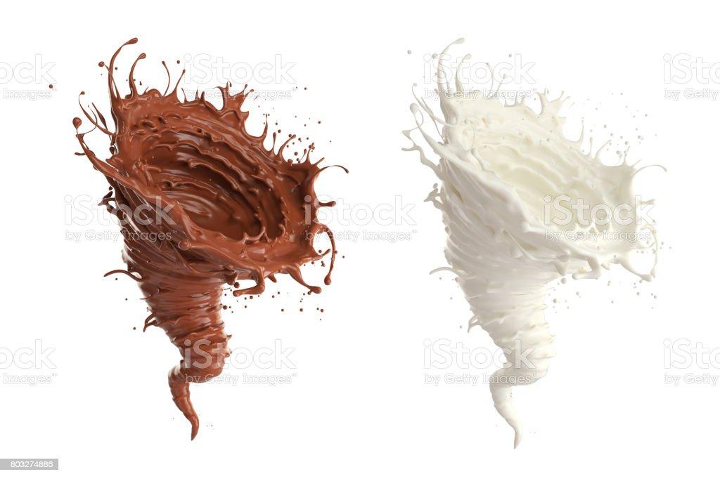 Chocolate and milk storm shape stock photo