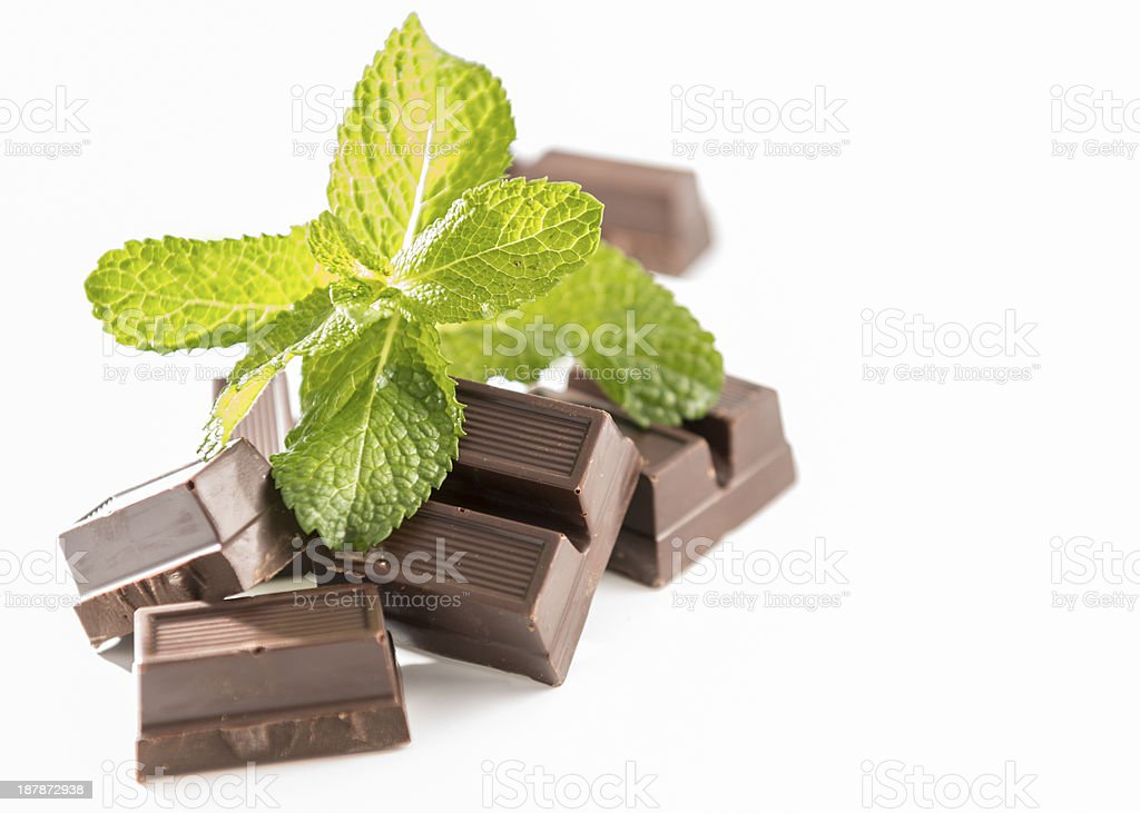 Chocolate and Mint Leaves royalty-free stock photo