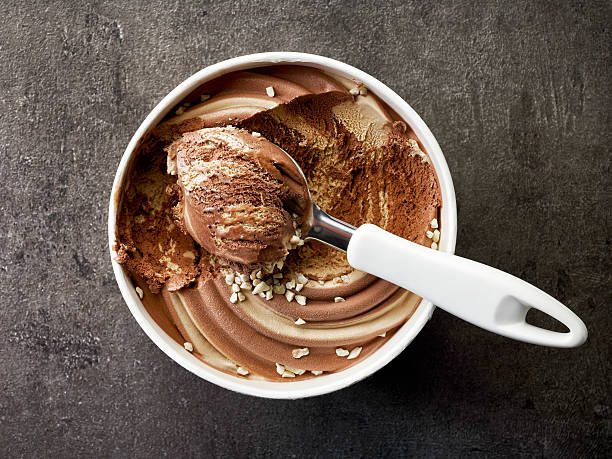 chocolate and peanut ice cream stock photo