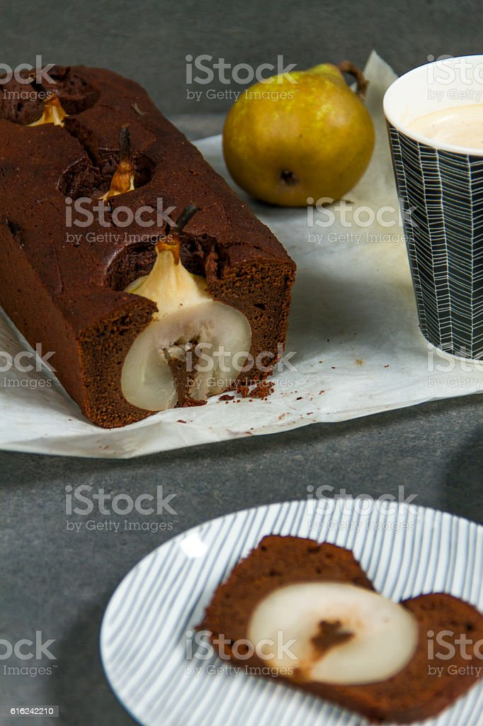 Chocolate and pear cake. - Photo