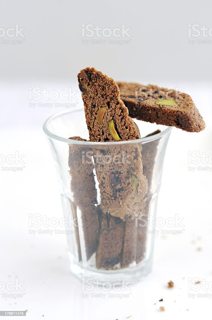 Chocolate and pistachio biscotti royalty-free stock photo
