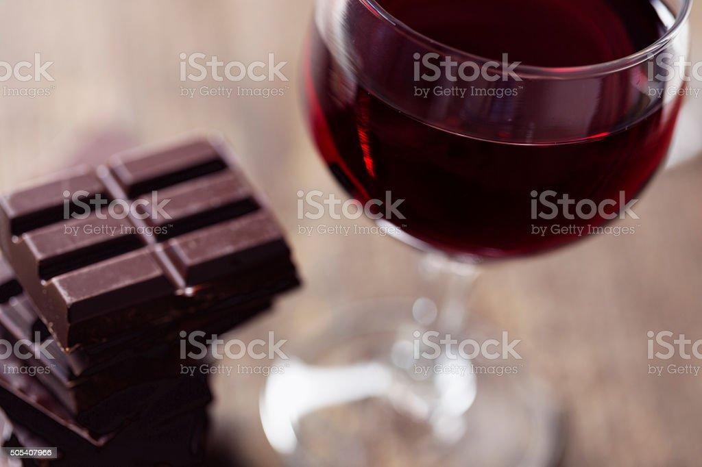 chocolate and red wine stock photo