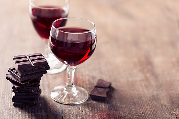 chocolate and red wine stock photo
