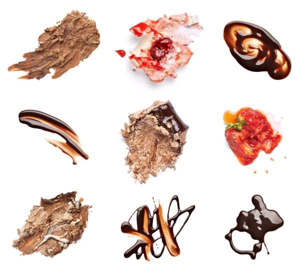 çikolata ve çilek pasta leke fleck gıda tatlı - lekeli kirli stok fotoğraflar ve resimler