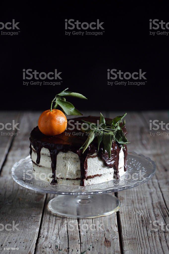 Gâteau au chocolat et à la mandarine, de crème et de pain d'épice - Photo