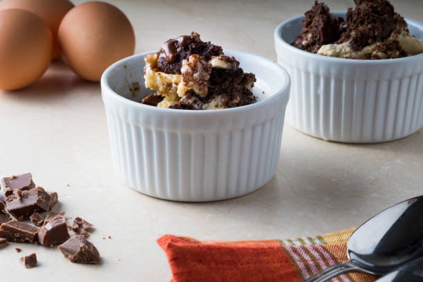 Chocolate and Vanilla Bread Pudding stock photo