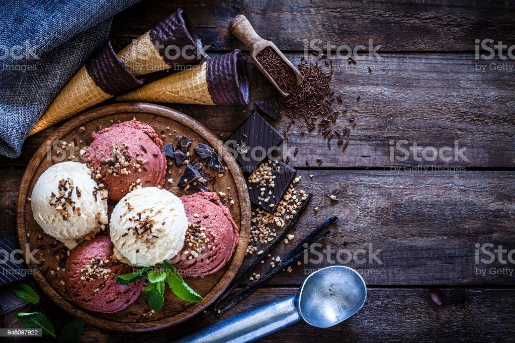 Chocolate and vanilla ice cream still life stock photo
