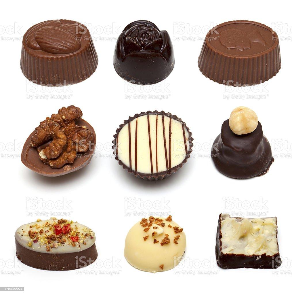 chocolate assortment of nine items royalty-free stock photo