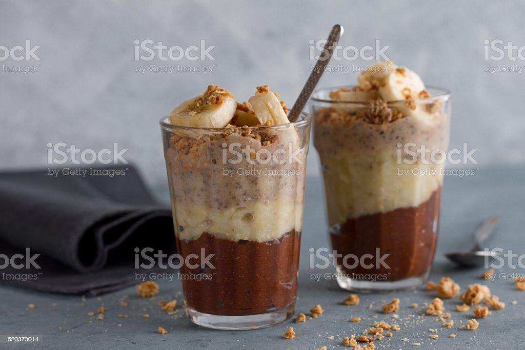 Chocolate, banana and chia seeds pudding stock photo