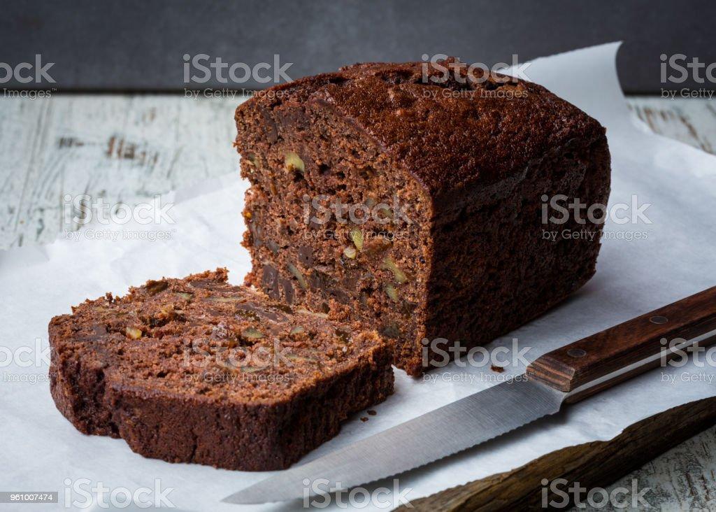 chocolate banana bread stock photo