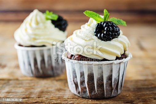 Chocolate banana cupcakes with cream cheese frosting and blackberries. toning. selective focus