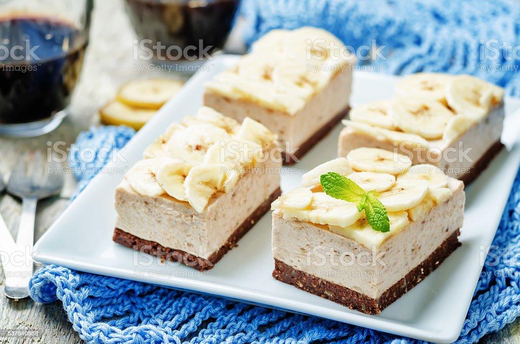 chocolate banana mousse cake stock photo