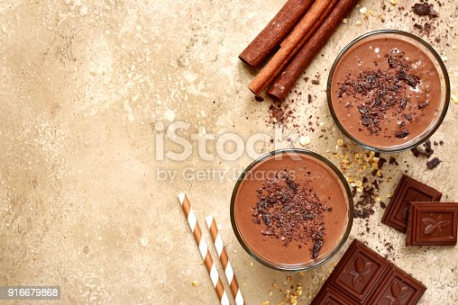istock Chocolate banana smoothie with cinnamon 916679868