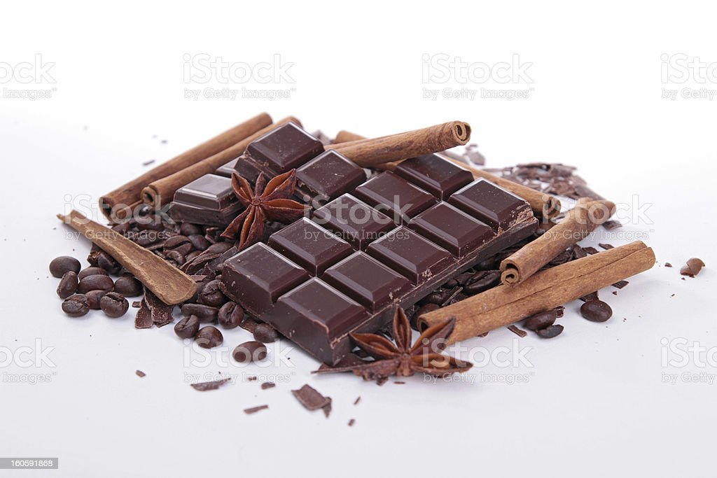 chocolate bar and spices royalty-free stock photo