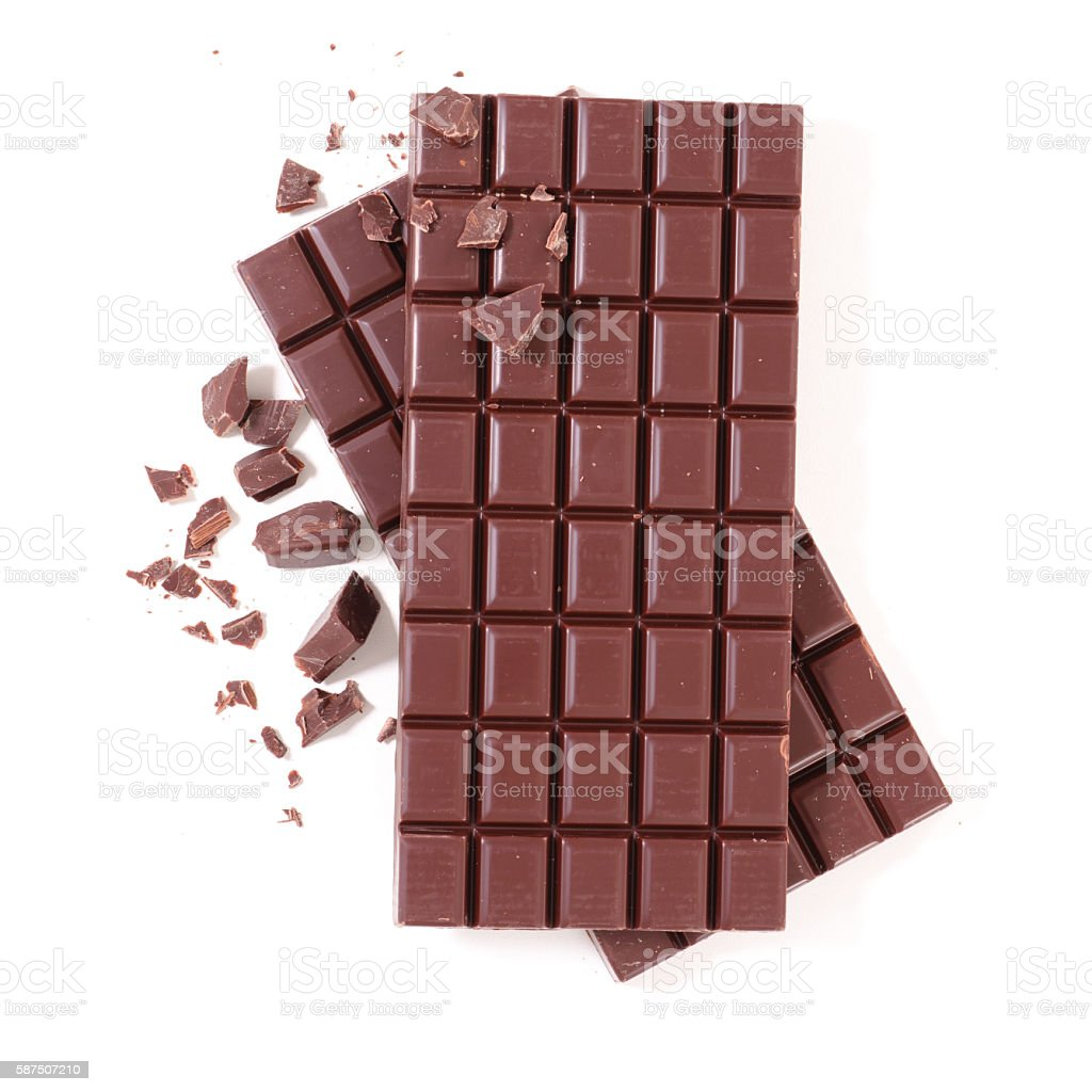 Barra de chocolate Aislado en blanco - foto de stock