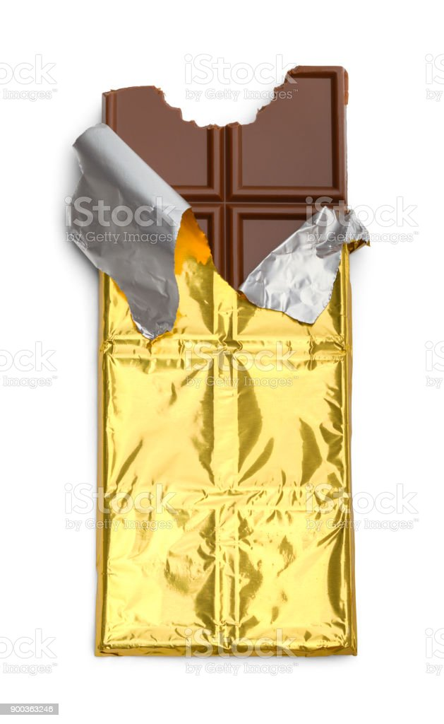 Chocolate Bar Ripped Wrapper stock photo