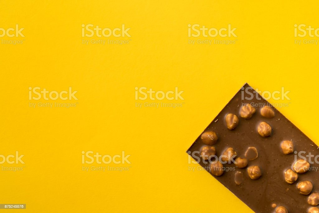 chocolate bar with nuts stock photo