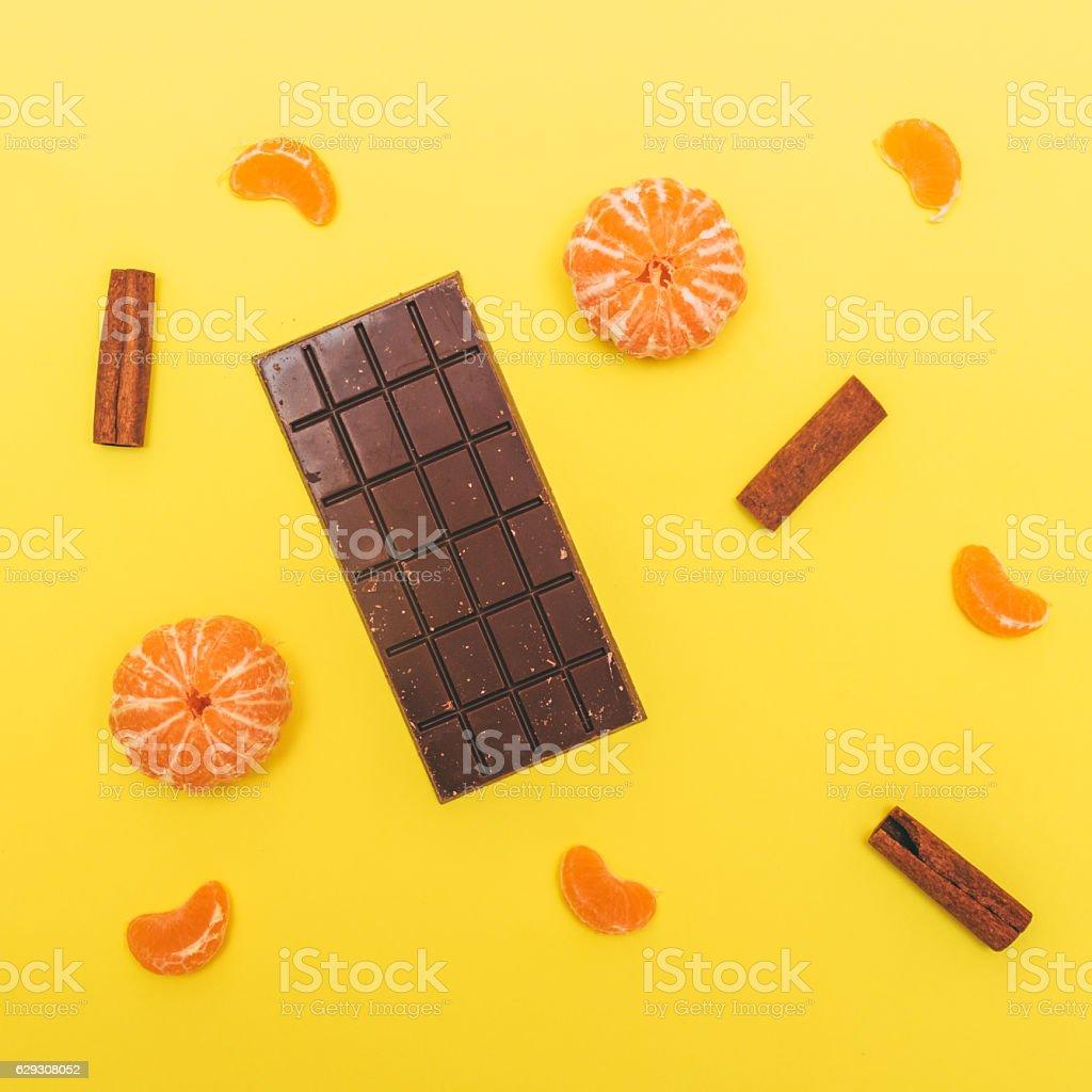 chocolate bar with tangerine stock photo
