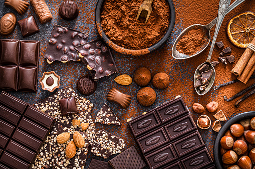 Assortment of chocolate bars and cocoa powder shot from above. Hazelnuts, almonds, dried orange slices, cinnamon sticks and vanilla beans complete the composition. Predominant color is brown. DSRL studio photo taken with Canon EOS 5D Mk II and Canon EF 100mm f/2.8L Macro IS USM.