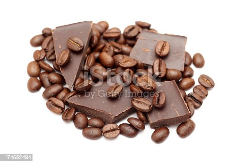 Chocolate and coffee beans close-up.Please see lightbox:
