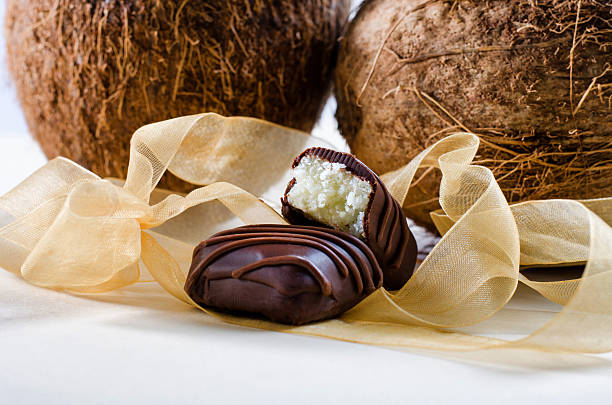 Chocolate bars filled with coconut stock photo