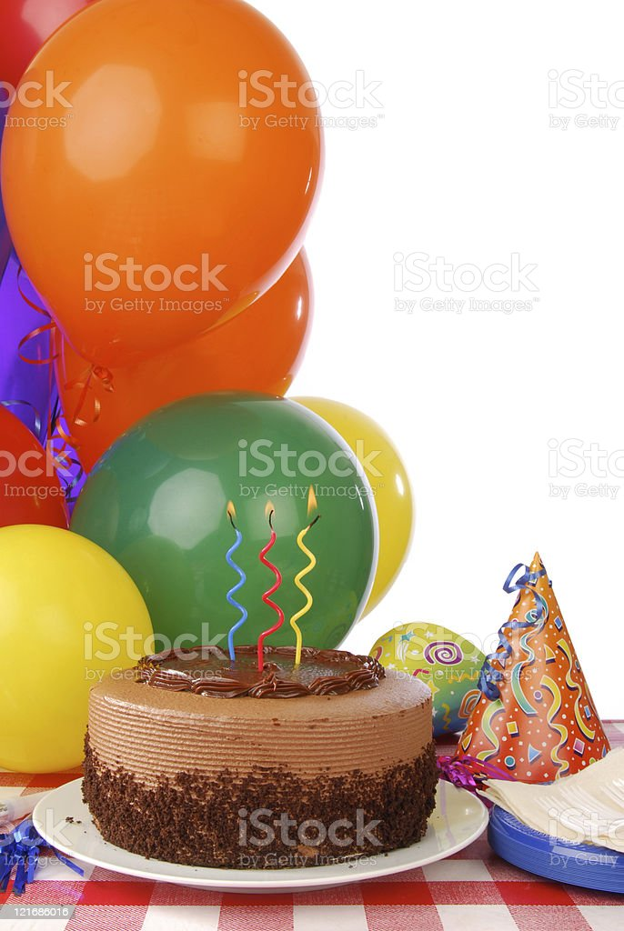Chocolate Birthday Cake And Balloons