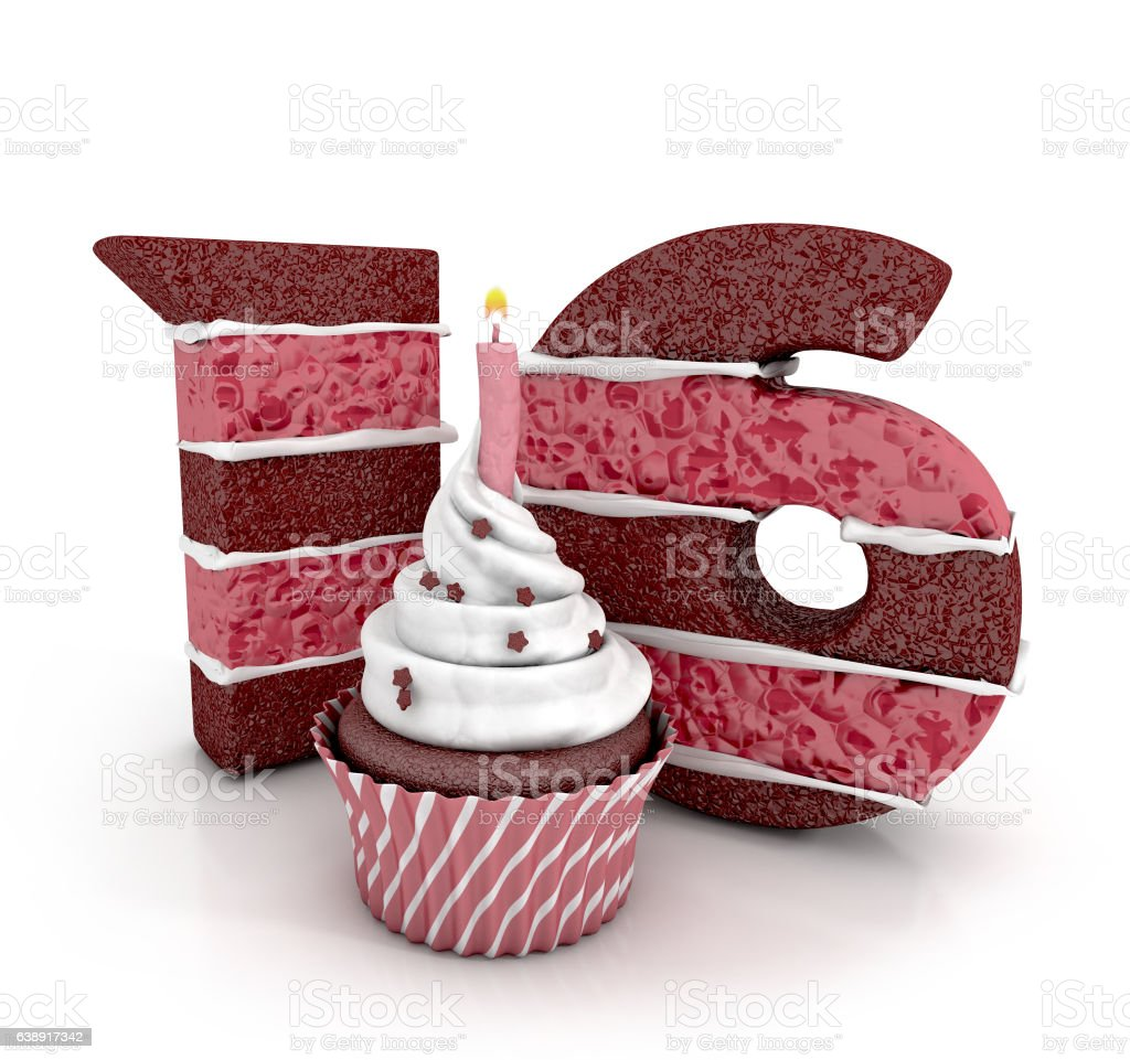 Swell Chocolate Birthday Cake Number 16 With Cupcake And Lit Candle Personalised Birthday Cards Akebfashionlily Jamesorg