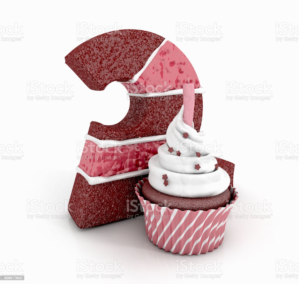 Chocolate Birthday Cake Number 2 With Cupcake And Lit Candle Lizenzfreies Stock Foto