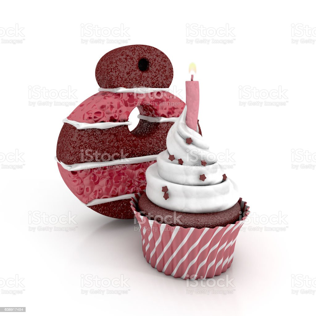 Chocolate Birthday Cake Number 8 With Cupcake And Lit Candle Lizenzfreies Stock Foto