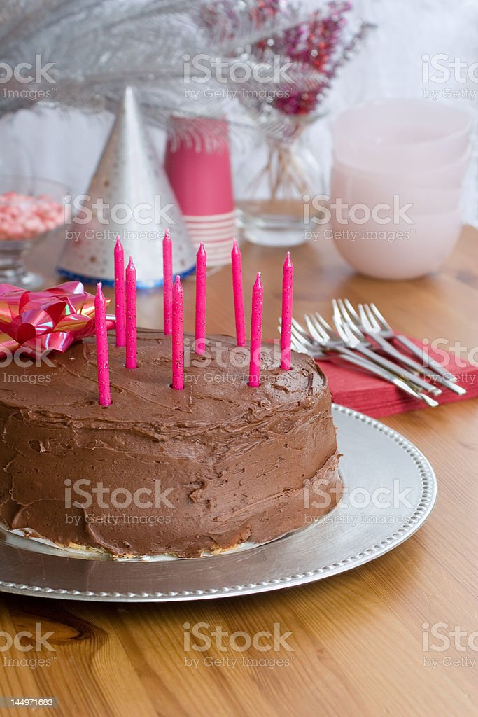 chocolate birthday cake with 9 candles royalty-free stock photo