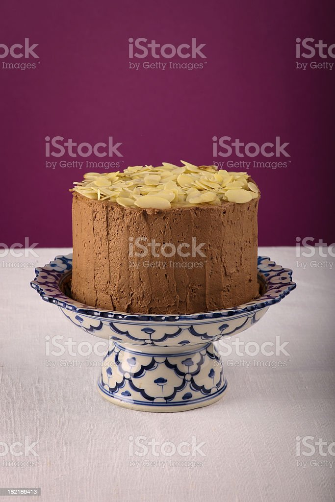 Terrific Chocolate Birthday Cake With Almond Flakes Stock Photo Download Funny Birthday Cards Online Inifodamsfinfo