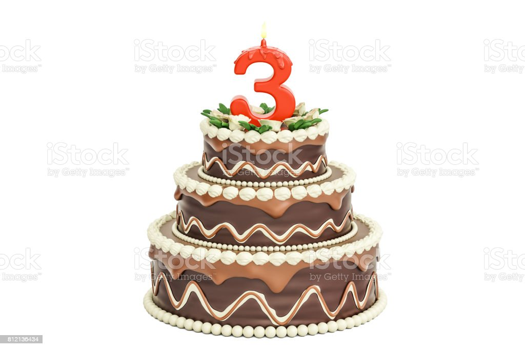 Chocolate Birthday cake with candle number 3, 3D rendering isolated on white background stock photo