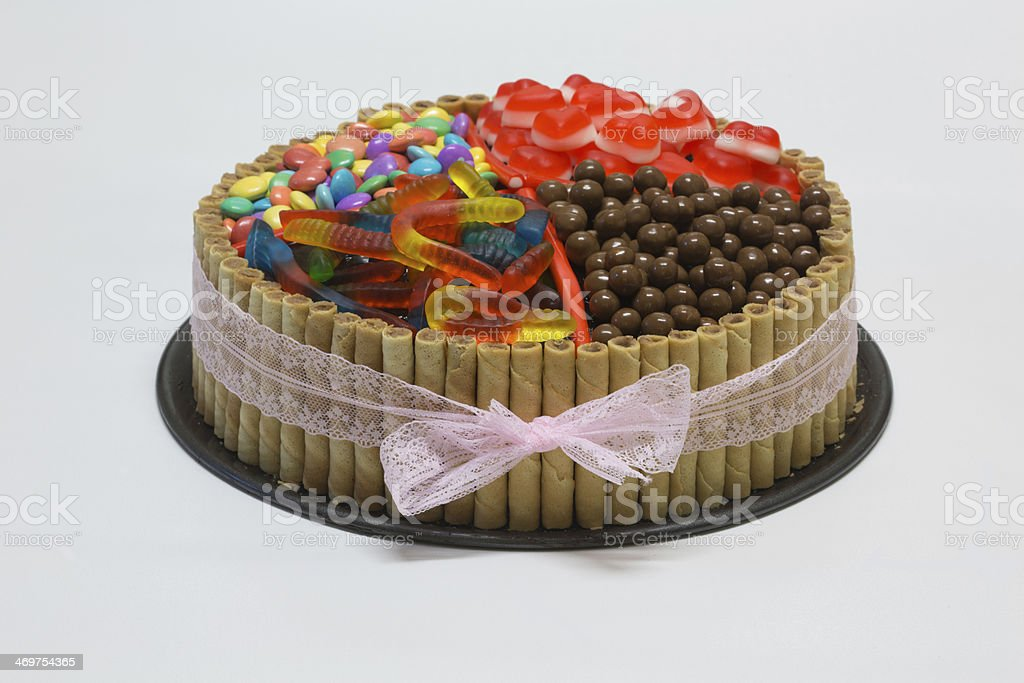 Terrific Chocolate Birthday Cake With Colorful Candy On Top Stock Photo Funny Birthday Cards Online Overcheapnameinfo