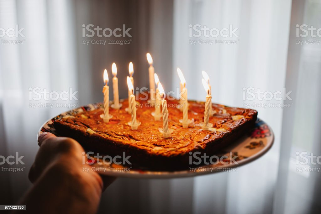 Phenomenal Chocolate Birthday Cake With Eleven Candles Burning Point Of View Birthday Cards Printable Trancafe Filternl